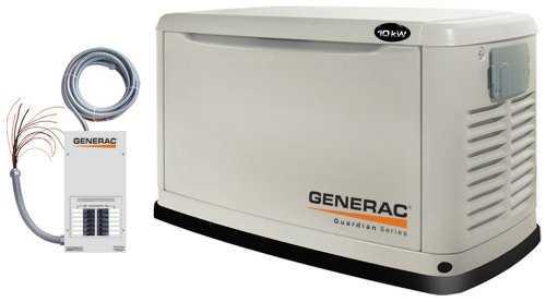 Generac Guardian Series 5871 10,000 Watt Air-Cooled Liquid Propane/Natural Gas Powered Standby Generator With Transfer Switch (CARB Compliant)