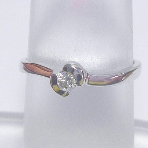 14K White Gold Diamond Solitaire Promise Ring - 0.10 Ct.