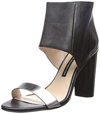 French Connection Women's Penny Dress Sandal,Black/Pewter,37.5 EU/7 M US