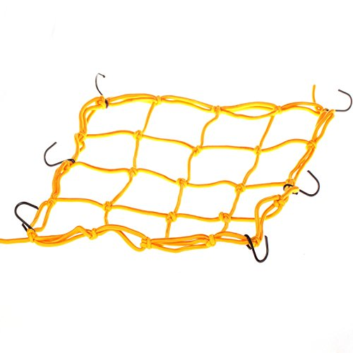 Generic Motorbike Motorcycle Cargo 6 Hooks Hold Down Net Bungee Yellow front-205060