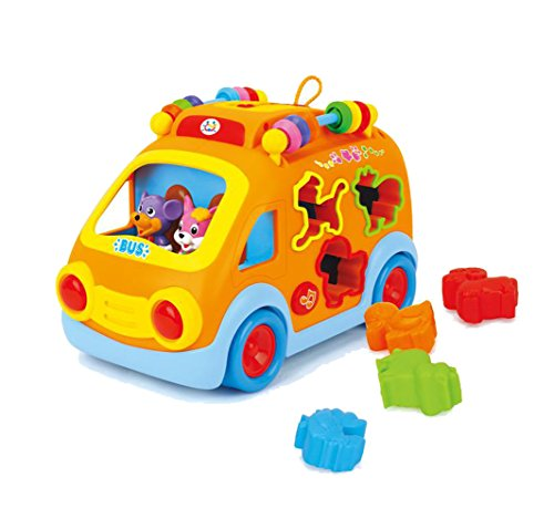 Happy Bus Animal with Matching Blocks, Beads Counting, Nursery Rhyme - MOTOR Skill Development + Musical Toys for Baby Kids Ages 18M+