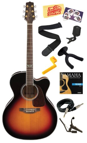 Takamine Gj72Ce Cutaway Jumbo Body Solid Spruce Top Acoustic-Electric Guitar With Rosewood Fretboard Bundle With Strings, Capo, Strap, Instrument Cable, Wall Hanger, Tuner, Stringwinder, Picks, And Polishing Cloth - Brown Sunburst