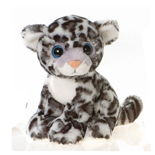 "9"" Sitting Snow Leopard with Big Eyes Plush Stuffed Animal Toy by Fiesta Toys"