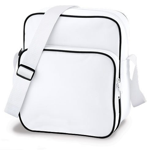 Retro Design Day Bag available in white, blue, red or black. Clean design with adjustable strap