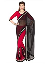 Designersareez Women Black & Red Faux Georgette Saree With Unstitched Blouse (1777)