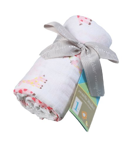 Angel Dear Muslin Swaddle Two Pack-Pink Giraffe and Leaf