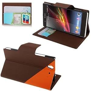 Rocina 2-couleur case housse pour Sony xperia Z / L36h dans brun orange avec fonction de réglage