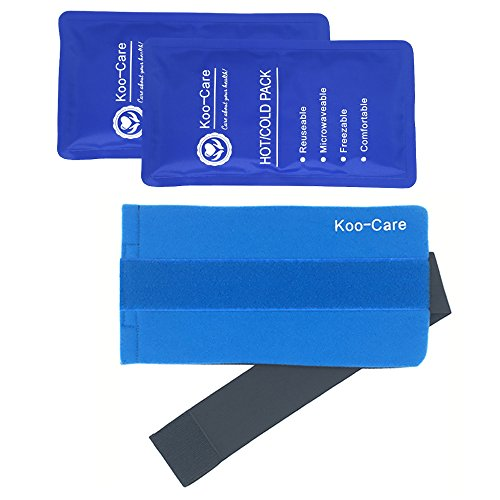 Koo-Care 2 Flexible Gel Ice Pack & 1 Wrap with Elastic Velcro Strap for Hot Cold Therapy -Best for Sprains, Muscle Pain, Bruises, Injuries (Shoulder, Arm, Elbow, Back, Belly, Knee, Ankle)(11