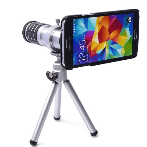 Kingmas 12X Zoom Optical Mobile Telephoto Lens +Tripod +Hard Case For Samsung Galaxy S5 Sv I9600