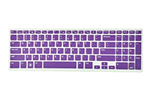 Silicone Laptop Keyboard Cover Skin Protector for Dell Inspiron New 15R N5110 M5110 M511R Us Layout (Purple Semitransparent)