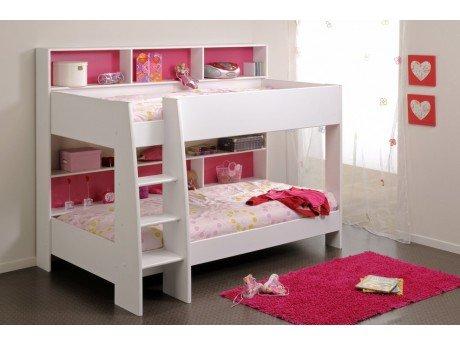 Lits superposés LENNY - 2x90x200cm - Etagères - Fond réversible bleu ou rose