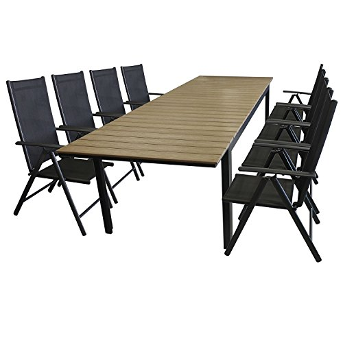 9tlg-Gartengarnitur-Sitzgarnitur-Sitzgruppe-Gartenmbel-Set-Aluminium-Polywood-Ausziehtisch-Gartentisch-280220x95cm-8x-Hochlehner-2x2-Textilenbespannung-klappbar