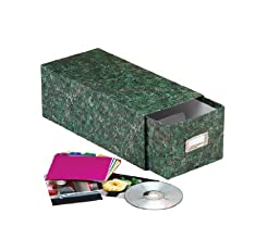 Oxford 39732 Reinforced Board 3x5 Card File with Pull Drawer, Green Marble