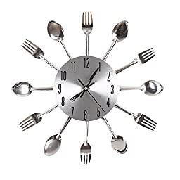 Ohuhu® Cutlery Kitchen Fork & Knife Wall Clock / Decorative Clock, Sliver