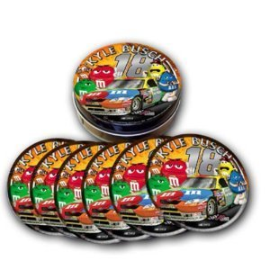 TCST-KYB9 #18 M & Ms Kyle Busch round tin photo beverage coaster which features a non-skid backing and is scratch resistant. A set of 6 in a collectible tin canister. Clamshell packaged. Size is 3.5 in diameter.