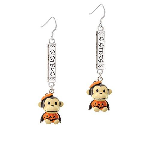 [Resin Monkey in Pumpkin Costume Forever Sisters Bar French Earrings] (Sorority Sisters Costume)