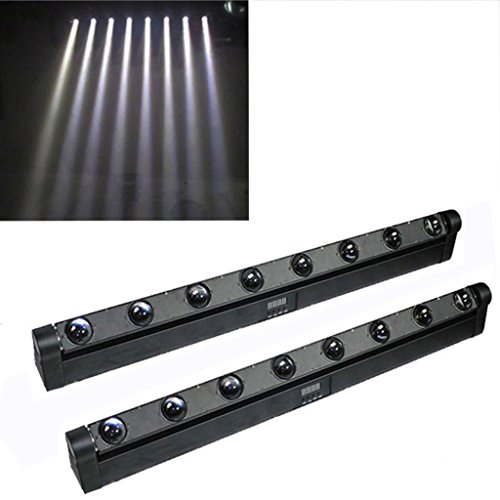 Yiscortm Stage Lighting Led Moving Head Wall Washer Light 8Leds White Dmx512 5Ch And 14Ch Beam For Disco Dj Club Home Garden Party Wedding Effect (Pack Of 2)