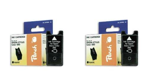 Peach E880 bk Doppelpack Tintenpatronen kompatibel zu Epson T019, schwarz