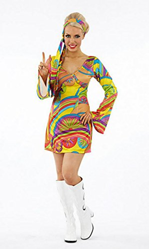 Ladies 1970s 70s Psychedelic Bell Sleeve Fancy Dress Costume Size Large 14 to 16