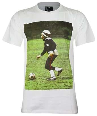 Bob Marley Ska ,Rocksteady and Reggae Play Soccer T-Shirt (MA016) (Medium, White)