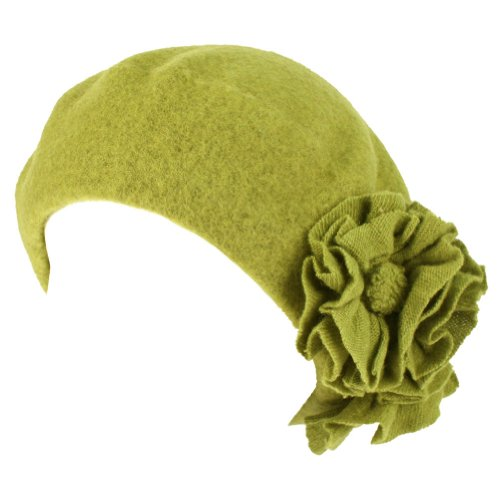 Ladies Winter 100% Wool San Diego Hat Co 3D Flowers French Beret Tam Hat Apple Green