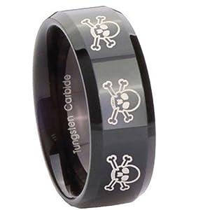 10MM Tungsten Carbide 8 Skull & Bones Black Pipe Cut Engraved Ring Size 7