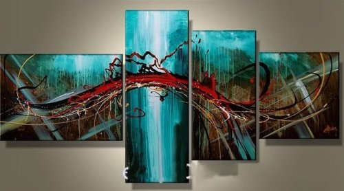 100% Hand-painted Free Shipping Wood Framed Wall Art Blue Bridge Sky Home Decoration Modern Abstract Oil Painting on Canvas 4pcs/set Mixorde Framed