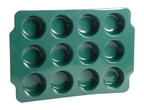Gibson Home 12 Cup Muffin Pan with Ceramic Non Stick, Green (Ceramic Green Pan compare prices)