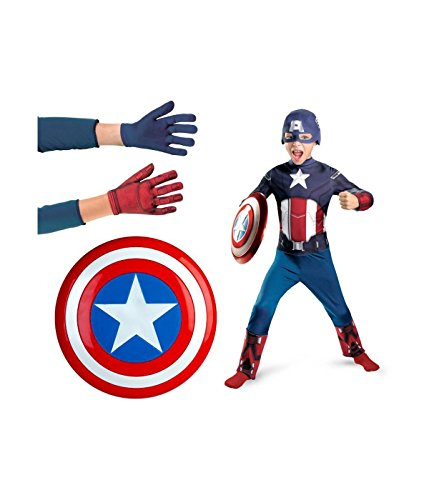 Captain America Costume with Accessory Gift Set
