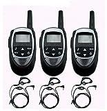 特定小電力 周波数 20ch 対応 VOX &トーン 付き トランシーバー &イヤホンマイク 黒色 3台セット