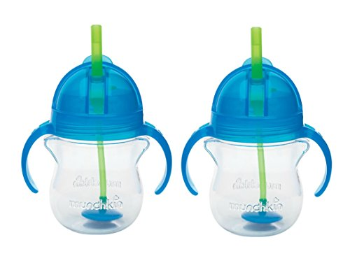Munchkin Click Lock 7 Ounce Weighted Flexi-Straw Cup, 2 Pack, Blue