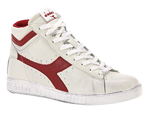 Diadora Game L High Waxed Scarpe Low-Top, Unisex adulto, Multicolore (C5147 Bianco/Rosso Peperone), 39
