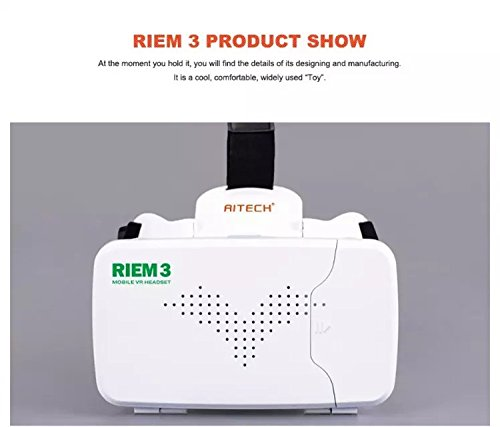 Qwinout RITECH III RIEM 3 Virtual Reality 3D VR Glasses Head Mount Headset Google Cardboard for 3.5-6 inch Smartphone 3D Movie - White