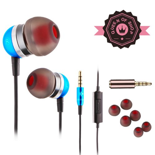 Queen E200 In-Ear 3.5Mm Stereo Bass Headset Metal Earphones With Microphone For Iphone Samsung All Phone'S Earphone ( Blue )
