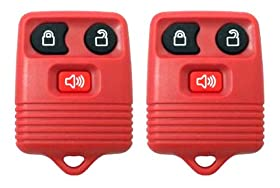 Pair Replacement Three Button Keyless Entry Remotes for Ford Vehicles - Red
