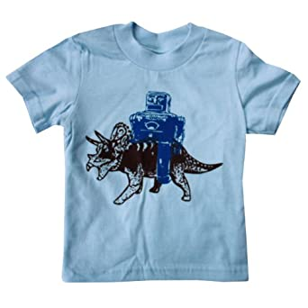 Happy Family Robot and Triceratops Dinosaur Light Blue Kid's T Shirt (12-18 Months)