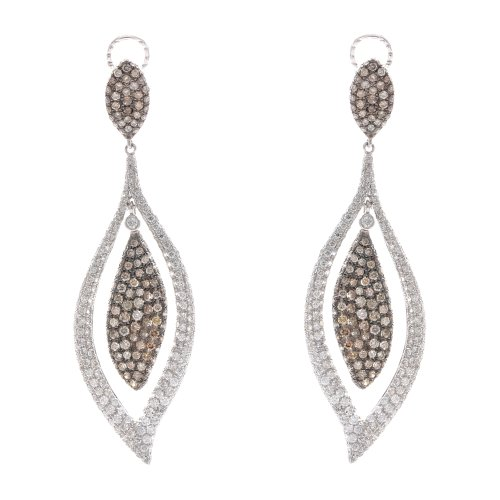 14k WG 4.64 Ct White Champagne Diamond Oval Earrings