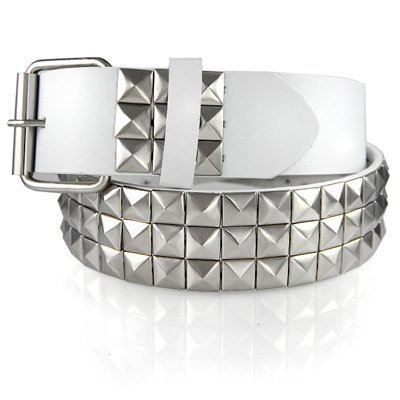 FAUX LEATHER SNAP ON SILVER STUDDED WHITE BELT WITH A DETACHABLE BUCKLE FITS ANY BUCKLE
