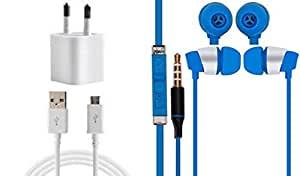 JIYANSHI combo of 2A wall charger & stylish earphone blue Compatible with Oppo Yoyo R2001