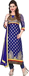 Cool women's Georgette Embroderied Unstitched Dress Material -1038_Blue_Freesize
