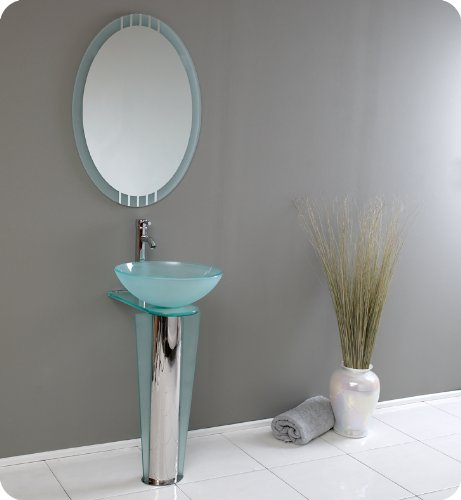 Fresca Vitale Modern Glass Bathroom Vanity w/ Mirror