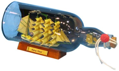 Handcrafted Nautical Decor Flying Cloud Ship in a Bottle with Sky