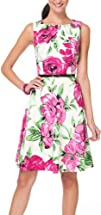 AGB Floral Print Pleated A-Line Dress
