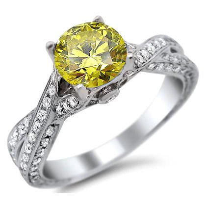1.62ct Fancy Canary Yellow Round Diamond Pave