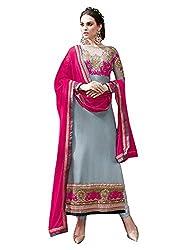 New Gray & Magenta Georgette Designer Salwar Suit