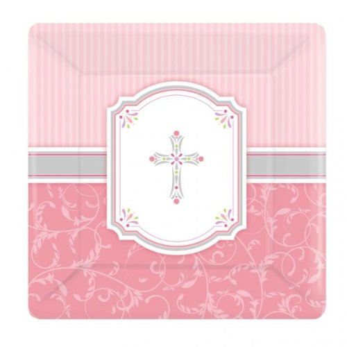 "Blessing Pink 10"" Square Plate"