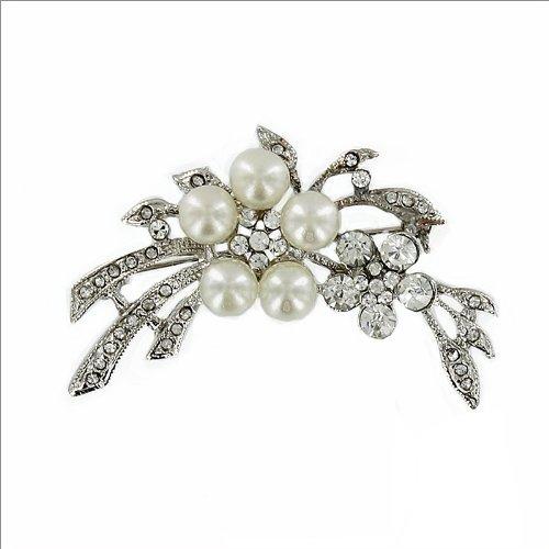 Trendy Pearl & Rhinestone Brooch #008320