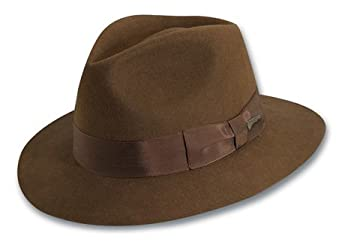 Indiana Jones Men's Wool Felt Fedora, Brown, Small