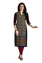 CHINTAN TEXTILES Ethnicwear Women's Unstitched Kurti Fabric Beige Free Size
