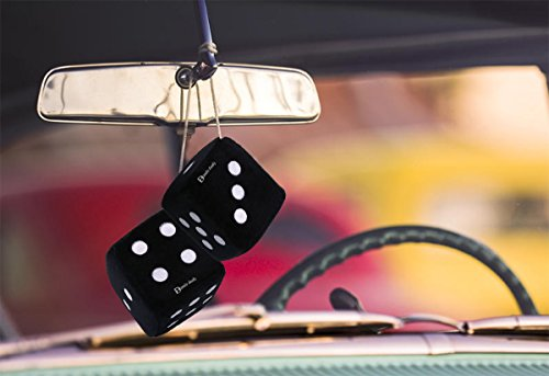 Zento-Deals-Pair-of-3-Inch-Square-Black-Hanging-Fuzzy-Dice-with-White-Dots